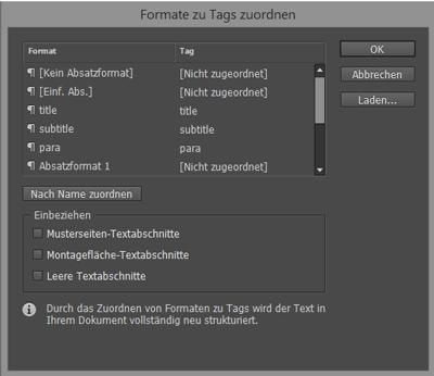 Menü XML-Elementen Formate zuordnen in InDesign