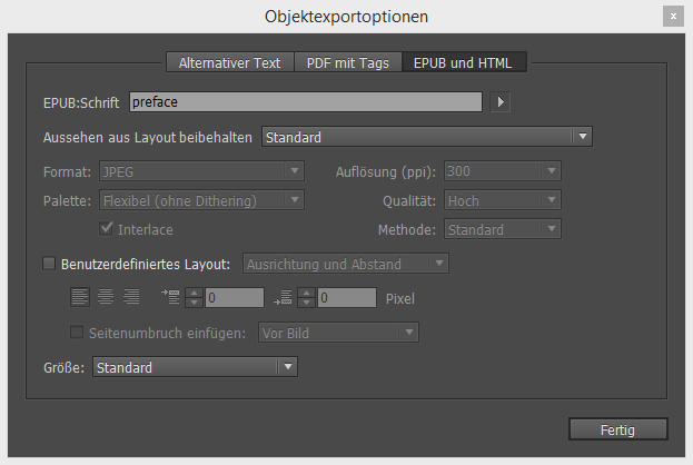 Eingabe von epub:type-Attributen in den Objektexportoptionen in Adobe InDesign